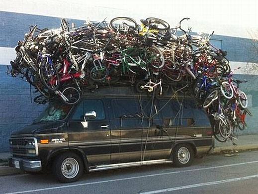 Photo - Lotta bikes strapped to that van