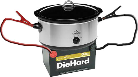 Car battery powered crockpot