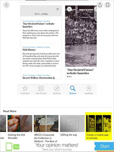 Screenshot of Fire Ant Gazette app