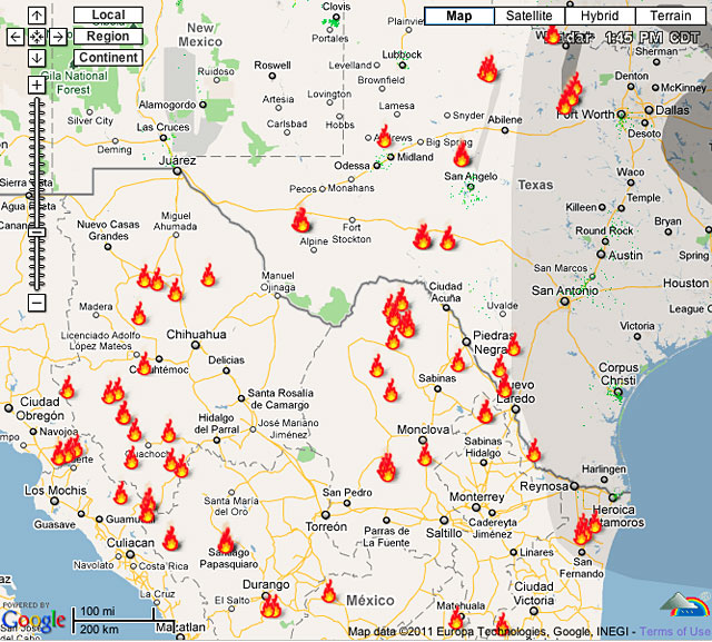 Screenshot of Weather Underground wildfire locator map