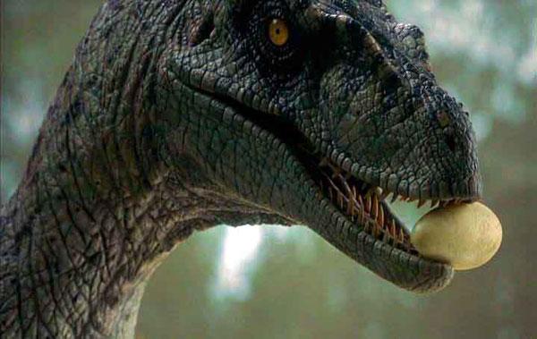 Jurassic Park raptor holding egg