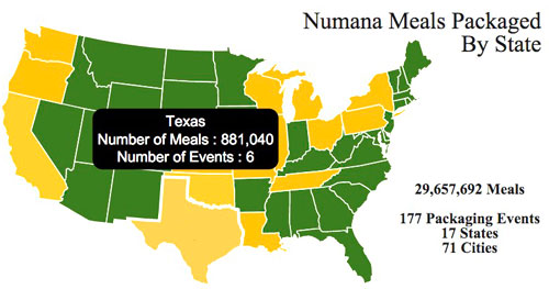 Map showing states participating in Numana events