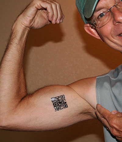 Photo of my Fire Ant Gazette URL QR tattoo