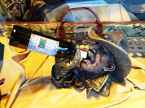 Cowboy wine bottle holder