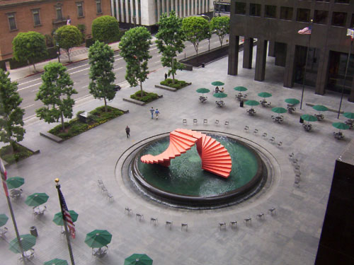 Herbert Bayer's 'Double Ascension' sculpture installation at ARCO Plaza in Los Angeles