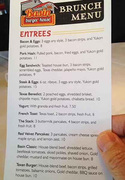 Photo of menu