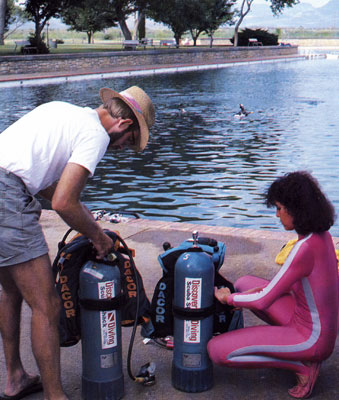 Photo of us checking out our scuba gear