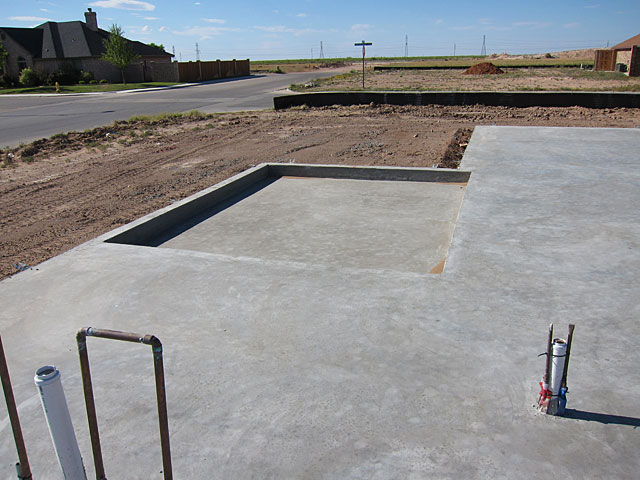 Photo of a concrete home foundation