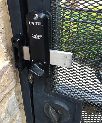 Installed lock - inside gate