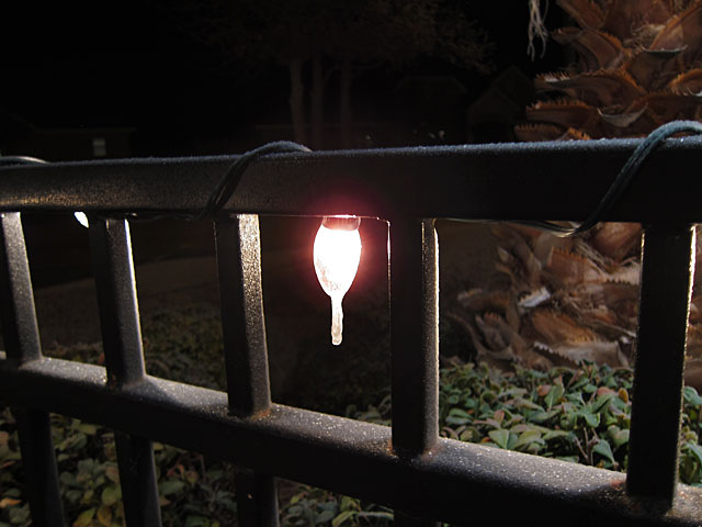 Photo of a Christmas light with icicle