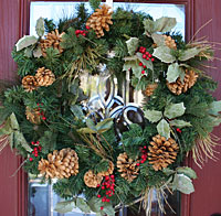 Photo of the wreath on our front door