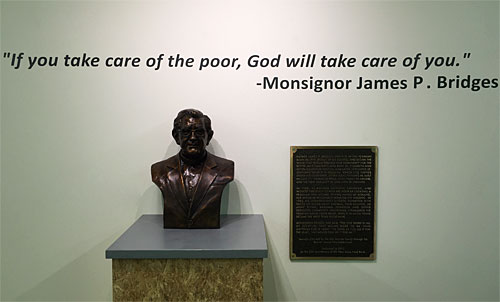 Msgr Bridges bust and quote