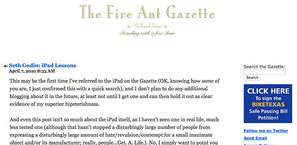 Screen capture of a yet another early Gazette layout