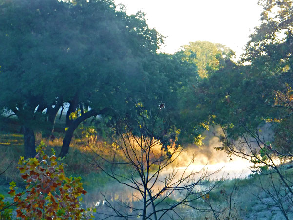 Mist rising up from Pecan Creek in Horseshoe Bay, Texas